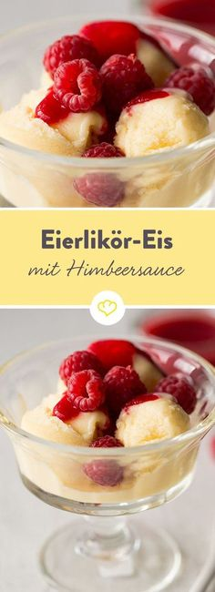 Eierlikör-Eis mit Himbeer-Sauce: eiskalter Schwips aus der Eismaschine A cool refreshment at any time. Easter, Christmas or just in summer – our ice cream from eggnog tastes wonderfully creamy-sweet. Baby Food Recipes, Fall Recipes, Dessert Recipes, Fall Desserts, Frozen Desserts, Eggnog Ice Cream, Raspberry Sauce, Easy Smoothie Recipes, Cinnamon Cream Cheeses