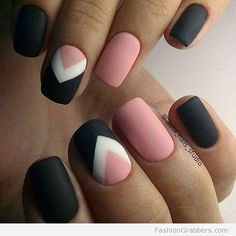 Modern, Black, Pink and White matte nails