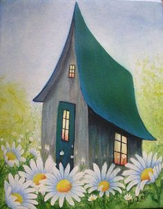 Lisette Lefebvre - Association of Painters of Center-Mauricie - peinturefr Arte Country, Pintura Country, Easy Canvas Painting, Diy Canvas Art, Cottage Art, Naive Art, Whimsical Art, House Painting, Painting Inspiration