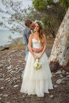 Bride wearing Karen Willis Holmes Matilda wedding dress