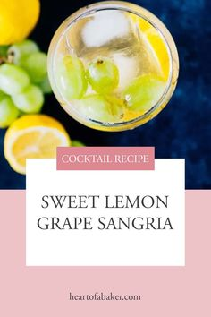 Are you looking for an easy cocktail recipe? Click through and find out how to make this Sweet Lemon Grape Sangria! Easy Alcoholic Drinks, Drinks Alcohol Recipes, Spring Cocktails, Easy Cocktails, Sangria Recipes, Cocktail Recipes, Sweet White Wine, Healty Dinner, Food For A Crowd