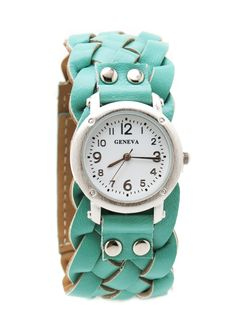 Loving this woven mint seafoam green leatherette watch! Azul Tiffany, Tiffany Blue, Cute Watches, Braided Leather, Girls Best Friend, Swagg, Passion For Fashion, Favorite Color, Style Me