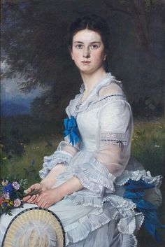 Portrait of Luise Des Coudres Oil on canvas, by Ludwig Des Courdes, private collection Female Portrait, Portrait Art, Female Art, Victorian Art, Victorian Women, Women In History, Family History, Art History, Historical Art