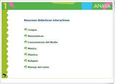 """""""Recursos Didácticos Interactivos Anaya de 1º de Primaria"""" Chart, Teaching Resources, Learning"""