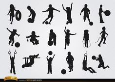 Kids playing silhouettes set- Free Vector Download #children