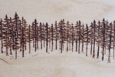 "Lodgepole Landscape (detail) by Emilie Crewe 4"" x 4"" wood-burned panel #pyrography #woodburning #woodburned #wood #art #trees #pine #canadiana #madeinvancouver"