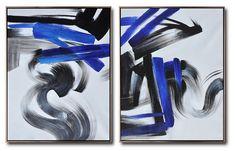 Set of 2 Blue Minimalist Painting #S163 #acrylic-painting #Artists_Biao-Zheng #Biao-Zheng