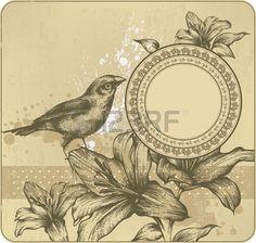 Fond de cru avec cadre, lys en fleur et les oiseaux. Dessin � la main. Vecteur. photo