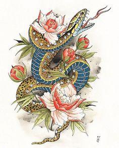 Brian Faulk, Hand of Glory, Brooklyn - TattooFind Japanese Snake Tattoo, Japanese Tattoo Designs, Japanese Sleeve Tattoos, Snake Drawing, Snake Art, Blackwork, Mascara Hannya, Tattoo Drawings, Body Art Tattoos