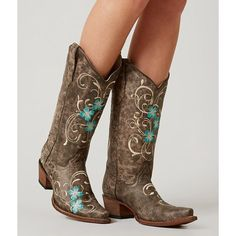 Circle G By Corral Embroidered Cowboy Boot ($128) ❤ liked on Polyvore featuring shoes, boots, brown, embroidered western boots, tall boots, brown shoes, brown cowboy boots and corral boots