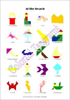 Colorful Tangrams: At the Beach. (Set 03) Most of the puzzles in this set are multicolored. They are more challenging as the 'inline' tangram puzzles but not as difficult as the well known black silhouettes.