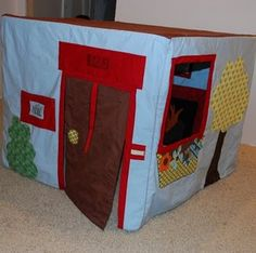 Fireflies and Jellybeans: Felt House Along: Week 1 {Planning and Supplies}.  A variety of posts to make your own card table felt playhouse with links to some other ideas.