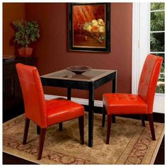 These leather dining chairs are a great fit for an elegant dining room setting. Made of bonded leather and hard wood, comfort is not forgotten within the style. This set includes two seats with dark brown legs and tufted burnt orange leather cushions. Tufted Dining Chairs, Leather Dining Room Chairs, Solid Wood Dining Chairs, Dining Chair Set, Leather Chairs, Dining Furniture, Orange Dining Room, Burnt Orange Living Room, Dining Room Sets