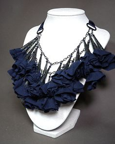 Way to Blue / Black and Blue Fabric Flower Statement Necklace // Swarovski Crystals
