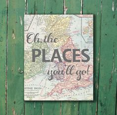 Oh, the places you'll go Dr. Seuss vintage map print for nursery or kid's room baby shower new mom gift on Etsy, $15.00