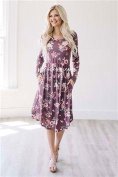 Dusty Burgundy Floral Modest Dress b05a1c311