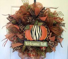 Welcome Fall deco mesh wreath pumpkin deco by ShellysChicDesigns