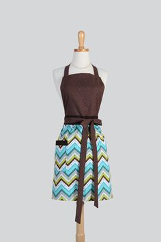 Full Bib Womens Apron - Handmade Modern Vintage Style Apron Teal Brown Chevron and Dots Cute Apron Chef Full Apron Personalize or Monogram