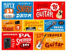 Product illustrations for Guitar Center