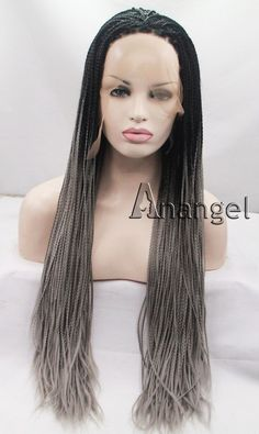 Braided Synthetic Lace Front Wig Natural Grey Straight Long Heat Resistant Hair