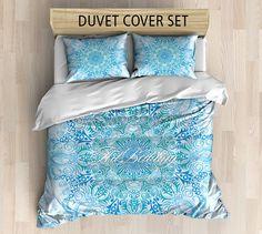 Bohemian bedding, Bohemian queen / king / full / twin duvet cover, blue and green balance mandala duvet cover set, Boho duvet cover, boho bedding