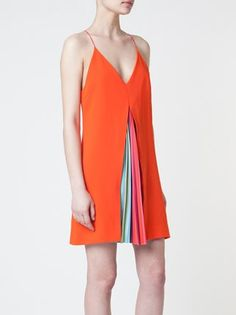 Mary Katrantzou rainbow stripe pleat dress