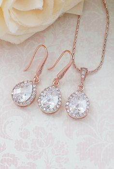 Halo Style Rose Gold Lux Cubic Zirconia Tear drop Dangle Earrings and Necklace Jewelry set from EarringsNation Bridesmaid gift