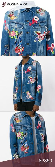 Saint Laurent Mens Embroidered Denim Jacket. Brand New Saint Laurent Mens Embroidered Denim Jacket. 35% Cotton 65% Polyester. The classic denim jacket is given an irreverent twist by French fashion house Saint Laurent. Made in Italy, this denim jacket features a classic collar, a front button fastening, front flap pockets, side slit pockets, a bleached effect, long sleeves, button cuffs and multicolour embroidered patches across the exterior. Saint Laurent Jackets & Coats