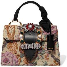 Miu Miu Embellished leather-trimmed floral-jacquard tote