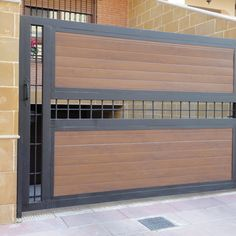 puertas cochera modernas - Buscar con Google Steel Gate Design, Front Gate Design, Main Gate Design, House Gate Design, Door Gate Design, Fence Design, Front Gates, Entrance Gates, Grill Gate