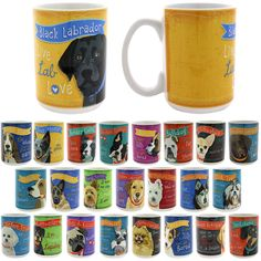 Colorful Breeds Dog Mug | Add some tail-wagging charm to your morning routine with your favorite dog breed upon our fetching ceramic mug. A suggested part of every dog lover's breakfast! | Basset Hound, Beagle, Bichon Frise, Black Labrador, Blue Heeler, Border Collie, Boston Terrier, Boxer, Bulldog, Chihuahua, Chocolate Labrador, Dachshund, German Shepherd, Golden Retriever, Jack Russell, Pomeranian, Pug, Schnauzer, Shih Tzu, Siberian Husky, West Highland Terrier, Yellow Labrador, Yorkie.