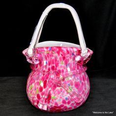 MURANO - Art Glass Purse Vase, Splatter Confetti, shades of Pink, Green & Blue