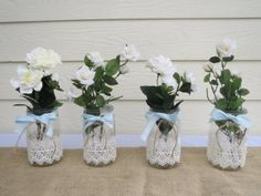 4 Lace Mason Jar Wedding Centerpieces by RusticBella on Etsy, $36.00