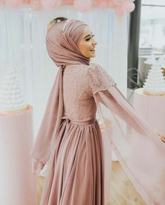 Image may contain: 1 person, standing Hijab Gown, Hijab Evening Dress, Hijab Dress Party, Hijab Style Dress, Dress Outfits, Evening Dresses, Muslimah Wedding Dress, Muslim Wedding Dresses, Wedding Hijab