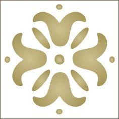 Flower Companion to Greek Key Stencil-flower, stencil, border, emboss