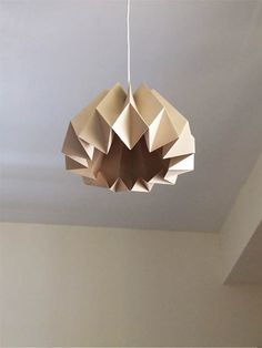 "Origami Paper Lamp ""pumpkin"" in pale beige 