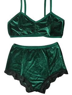 Women's Vintage 2 Pieces Velvet Bra & High Waist Lace Pan...
