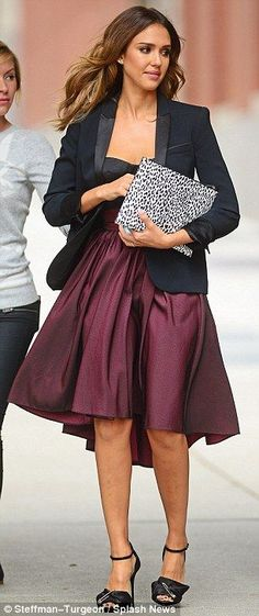 #officewear #streetstyle | Jessica Alba in a black blazer and matching Chris Gelinas strapless top paired with a burgundy Katharine Kidd midi skirt, black Giuseppe Zanotti ankle strap sandals and a Saint Laurent leopard print case - embroidered blouse, red and black blouse, party blouses *sponsored https://www.pinterest.com/blouses_blouse/ https://www.pinterest.com/explore/blouse/ https://www.pinterest.com/blouses_blouse/saree-blouse/ http://www.missme.com/categories/blouses