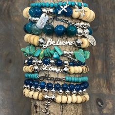 Create your own Boho Beat stacking bracelets with free DIY jewelry making instructions! These bracelets designed by Denise Yezbak Moore features Bead Gallery® beads available at… Boho Rings, Boho Jewelry, Jewelry Crafts, Beaded Jewelry, Handmade Jewelry, Beaded Bracelets, Stacking Bracelets, Denim Bracelet, Couple Bracelets