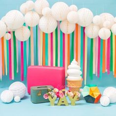 21 Party Ideas for a Unicorn Baby Shower - Brit + Co Streamer Backdrop, Diy Photo Backdrop, Paper Streamers, Backdrop Ideas, Photo Backdrops, Crepe Paper Backdrop, Tissue Paper, 21 Party, Festa Party