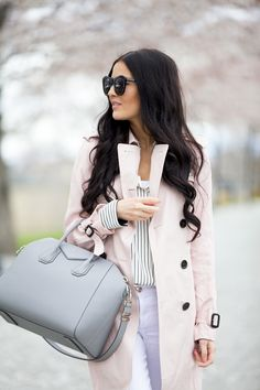 Beneath the Cherry Blossoms...Pink neutral trench coat and pearl gray handbag