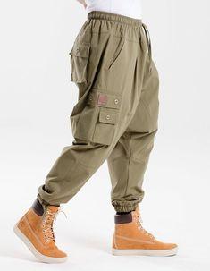 YUNY Men Casual Straight-Fit Baggy Multi-Pockets Elastic Rip Stop Trouser Khaki L