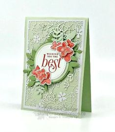 Just in Case - Floral Frames Stamp Set Best Wishes Card, Laser Cut Paper, Free Cards, Stampin Up Catalog, Stamping Up Cards, Card Patterns, Handmade Birthday Cards, Paper Cards, Flower Cards