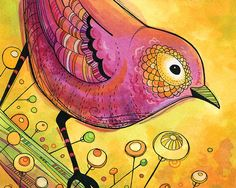 Art Print Hot Pink Bird Illustration 8x10 by annibetts on Etsy