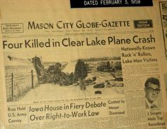 A plane crash kills Buddy Holly, Richie Valens...and the Big Bopper!