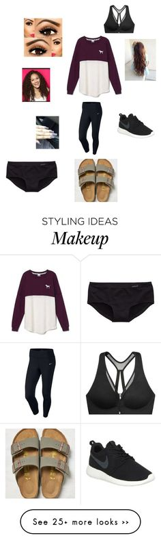 """Untitled #297"" by amanipb on Polyvore featuring moda, Victoria's Secret, NIKE, Birkenstock y Aerie"