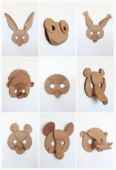 5 Creative Animal Mask Ideas - - What kid doesn't love playing dress up? I've rounded-up 5 DIY animal mask ideas that will offer a fun opportunity to do crafts as a family. If your children love animals, they'll adore these. Cardboard Animals, Cardboard Mask, Cardboard Crafts, Paper Crafts, Cardboard Costume, Cardboard Playhouse, Cardboard Furniture, Book Crafts, Projects For Kids