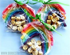 The Bridal Dish adore's this children's craft! fun party favors for St Patrick's Day--rainbow Twizzlers and gold wrapped chocolate Rollo candy and like magic, you have your rainbow and pot of gold!