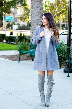 Blush dress, floral, gray coat, over the knee boots. Grays for fall. Fashion, blog, boho, chic, forever 21, girly fashion