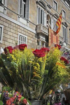 Diada de Sant Jordi davant el Palau de la Generalitat de Catalunya-- #BarcelonaMustSee